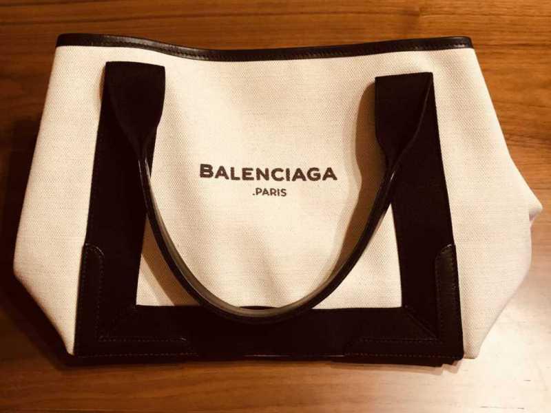 キャンバストートバッグ ロゴプリント ポーチ付き(BALENCIAGA)