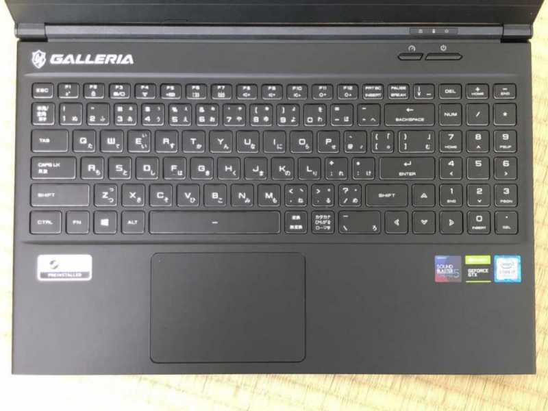 GALLERIA GCR1650GFノートパソコンのキーボード