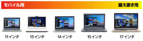 ノートパソコンをディスプレイサイズから選ぶ