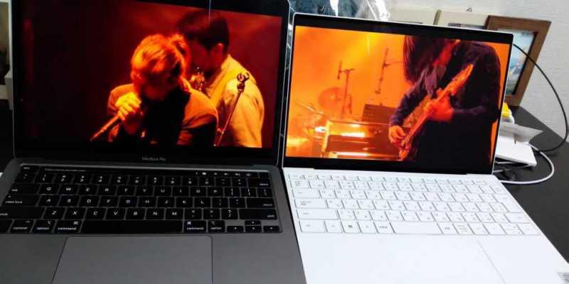 Apple MacBook Pro Retina 13-inch 2020ノートパソコンのディスプレイの比較
