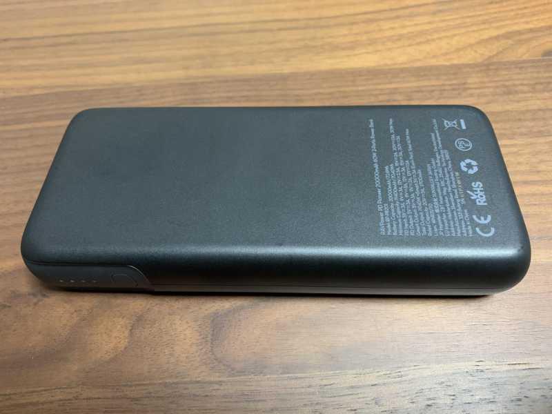 RAVPower RP-PB201 20000mAh(PD対応 60W USB-A+USB-C 2ポート)モバイルバッテリーの裏側