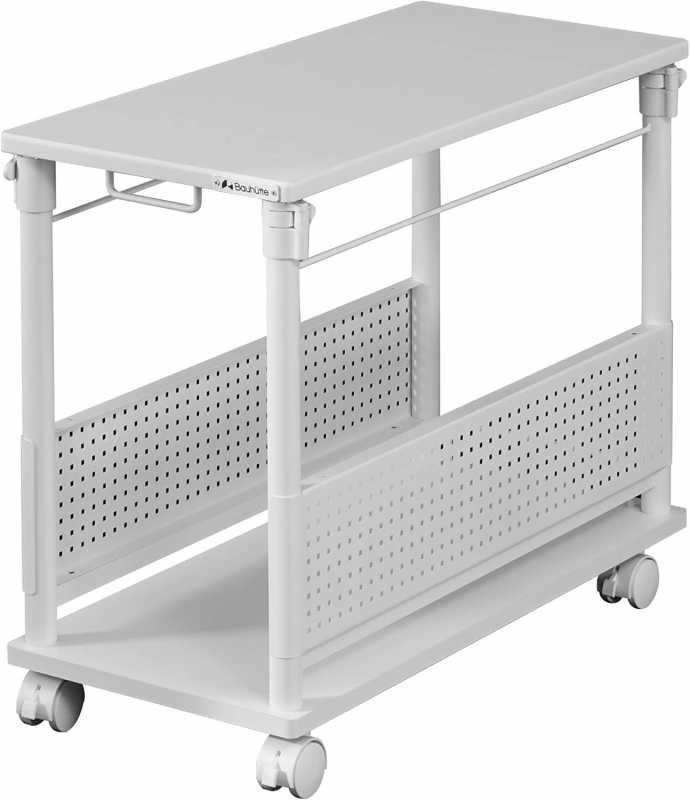 CPUワゴン:Bauhutte 昇降式 L字デスク CPUワゴン ホワイト (天板32×67cm) BHD-670H-WH
