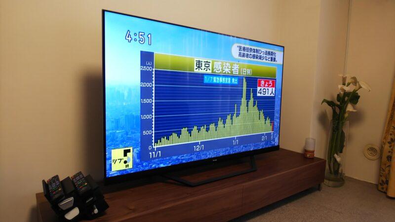 ハイセンス 65U8F液晶テレビの斜めからの映り具合
